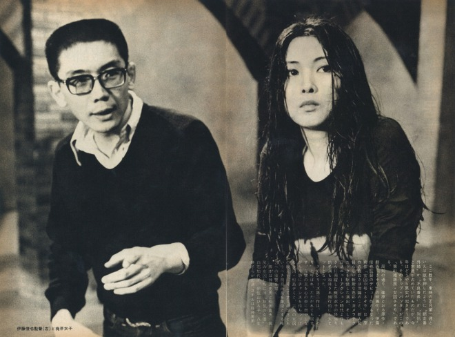 2_Director Shunya Ito and Meiko Kaji on the set of Female Convict Scorpion-Jailhouse 41, 1972..jpg