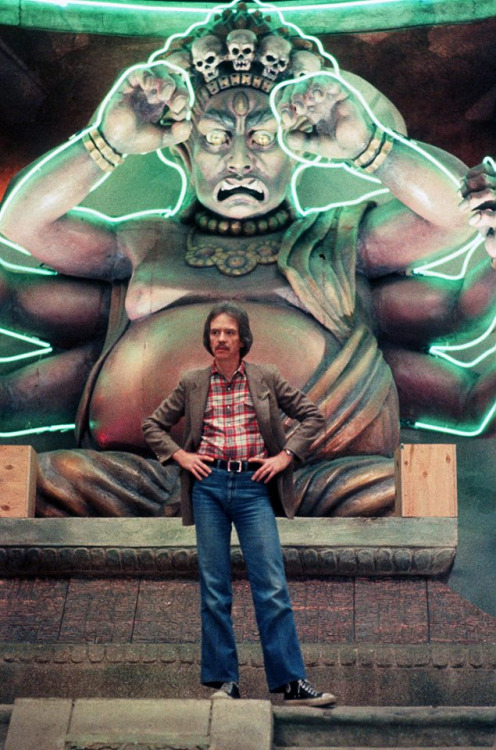 John Carpenter on the set of Big Trouble in Little China