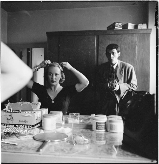 "17_Stanley Kubrick photographing actress Faye Emerson, best known as ""the First Lady of television"", for Look magazine. The photostory ""Faye Emerson: Young Lady in a Hurry"" was p"