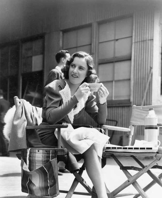 Barbara Stanwyck and William Holden on the set of Golden Boy, 1939-1