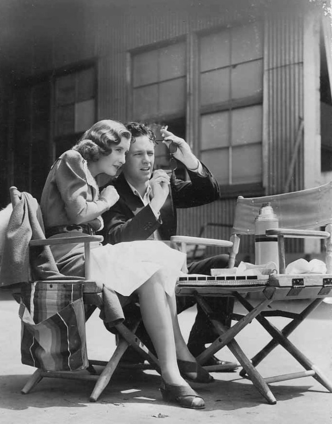 Barbara Stanwyck and William Holden on the set of Golden Boy, 1939-2
