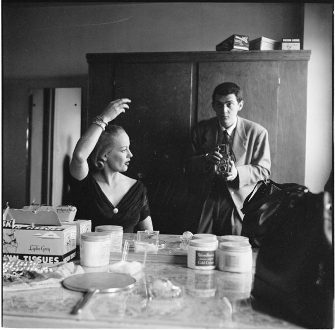"Stanley Kubrick photographing actress Faye Emerson, best known as ""the First Lady of television"", for Look magazine. The photostory ""Faye Emerson: Young Lady in a Hurry"" was publ"