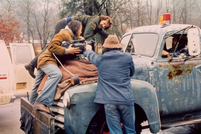 Werner Herzog on the set of Stroszek (1977).-2