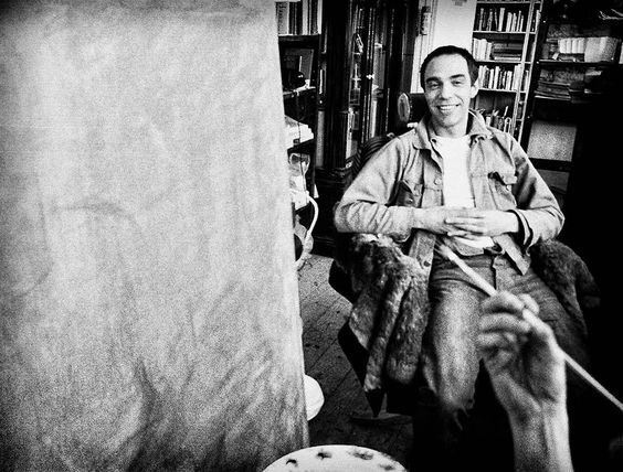 5_Derek Jarman having his portrait painted by set designer and friend Christopher Hobbs. London, 1987.jpg