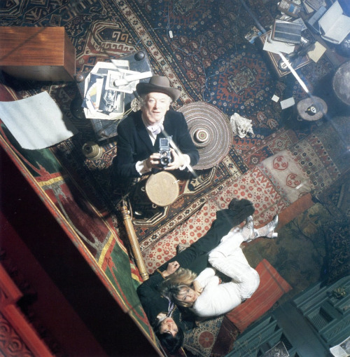 8_Mick Jagger, Anita Pallenberg and photographer Cecil Beaton on the set of Performance (dir. Nicolas Roeg, 1970) at 15 Lowndes Square, London.1