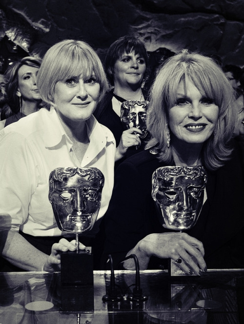 14_Sarah Lancashire and Joanna Lumley on stage photocall at the 2017 Bafta TV awards.jpg