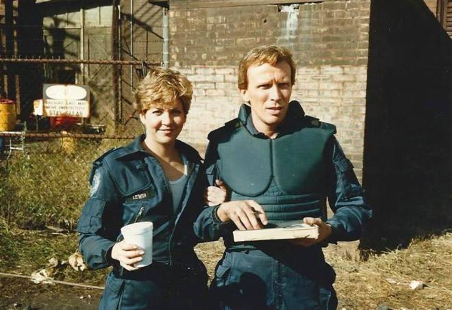 25_Nancy Allen and Peter Weller on the set of RoboCop (1987)