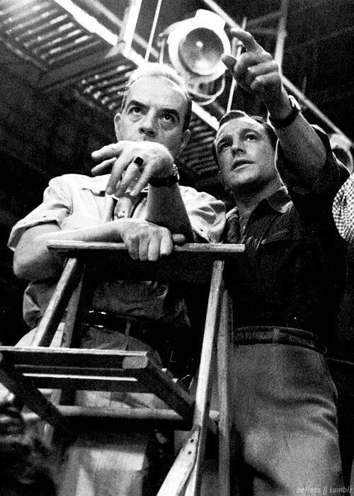 7_Vincente Minnelli and Gene Kelly behind the scenes of Brigadoon (1954).png