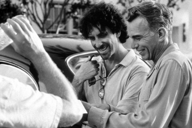 Joel and Ethan Coen while filming The Man Who Wasn_t There (2001)-1