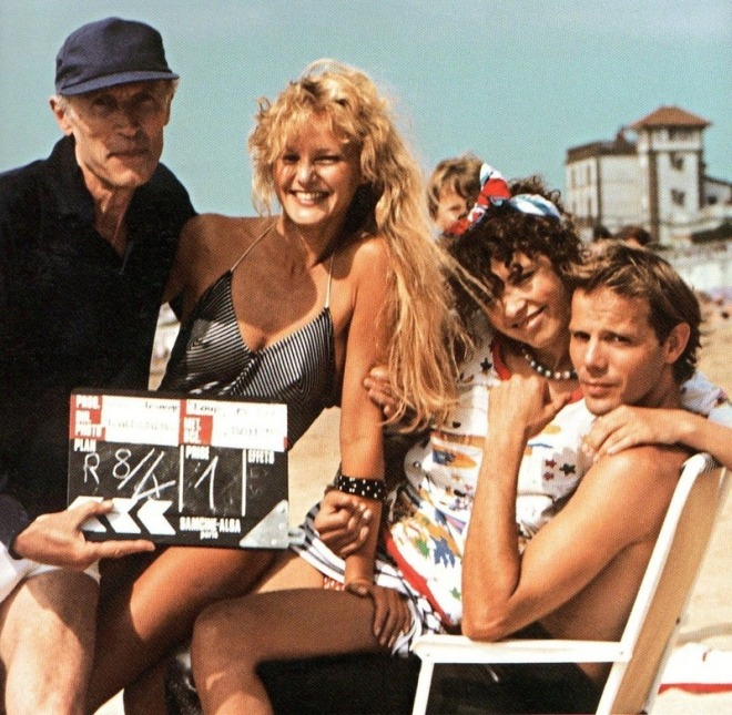 11_Éric Rohmer with Arielle Dombasle, Pascal Greggory On the set of Pauline at the Beach, 1983..jpg