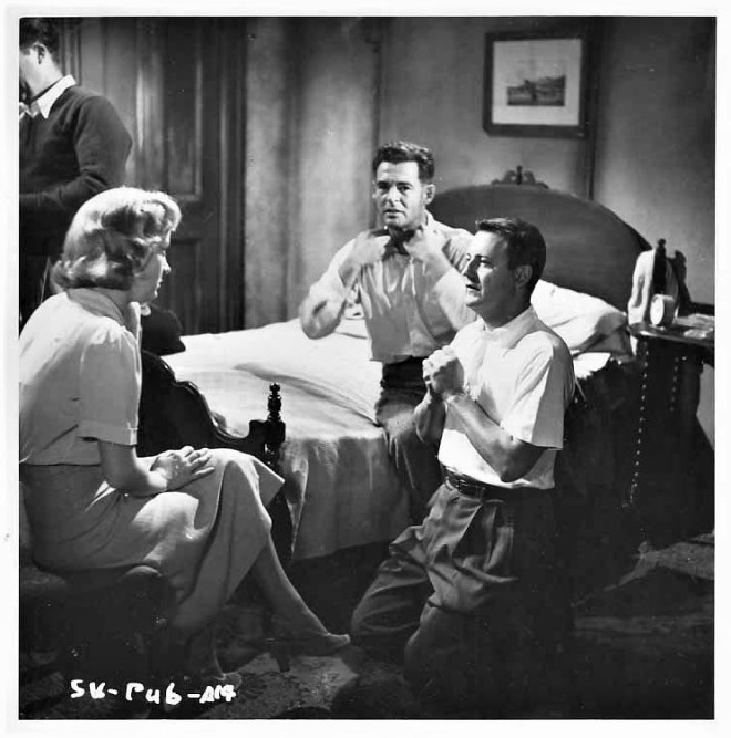 16Director Robert Wise directs Audrey Totter and Robert Ryan on the set of The Set Up, 1949.jpg