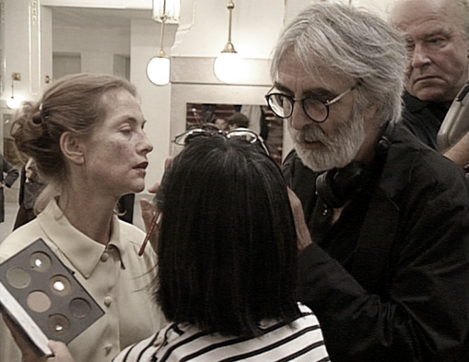 Isabelle Huppert and Michael Haneke filming La Pianiste, 2001-2