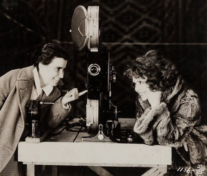 14_Director Dorothy Arzner and Clara Bow on the set of The Wild Party..jpg