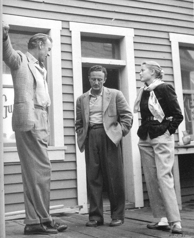 25_Gary Cooper, Grace Kelly and Fred Zinnemann, On the set of High Noon..jpg