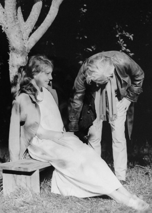 "Robert Bresson directing Anne Wiazemsky on the set of ""Au hasard Balthazar""-2"