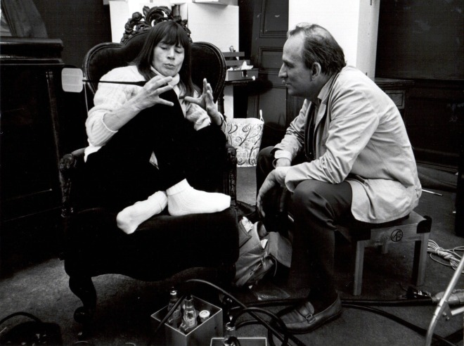 26_Harriet Andersson and Director Ingmar Bergman on the set of Cries and Whispers..jpg
