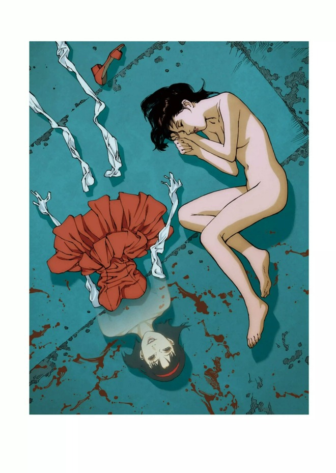 Rare promotional art work for the film Perfect Blue, illustrated by director Satoshi Kon,featured in the art book Kon_s Works 1982-2010-2