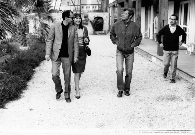 26_Anna Karina, Jean Paul Belmondo and Jean Luc Godard on the set of Pierrot le fou, 1965..jpg