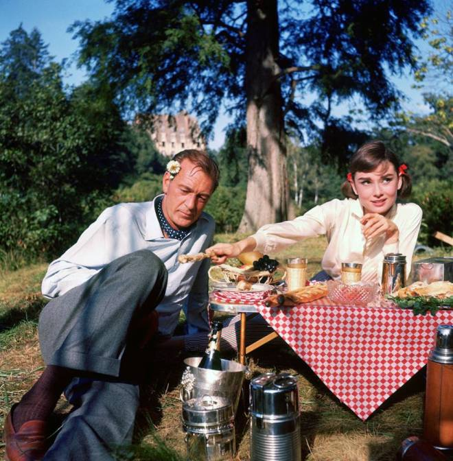11_Gary Cooper and Audrey Hepburn on the set of Love in the Afternoon directed by Billy Wilder, 1957..jpg