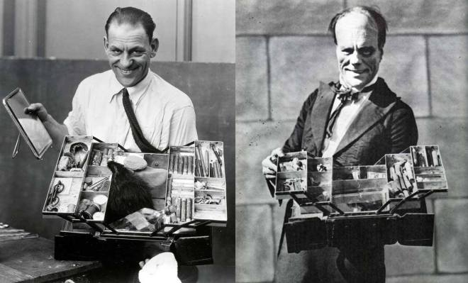 14_Lon Chaney with his personal makeup kit, before and after transforming himself into The Phantom for The Phantom of the Opera..jpg