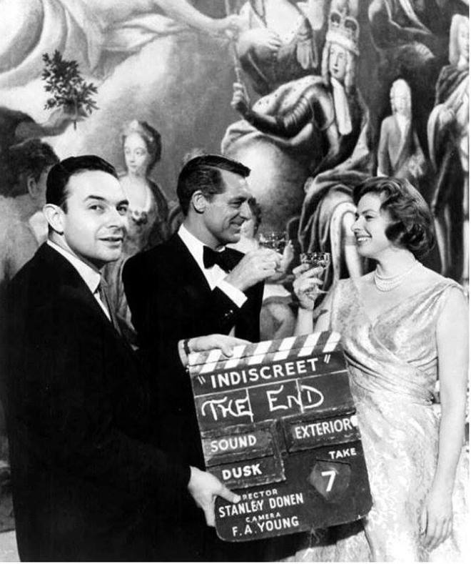 23_Stanley Donen, Cary Grant and Ingrid Bergman on the set of Indiscreet, 1958..jpg