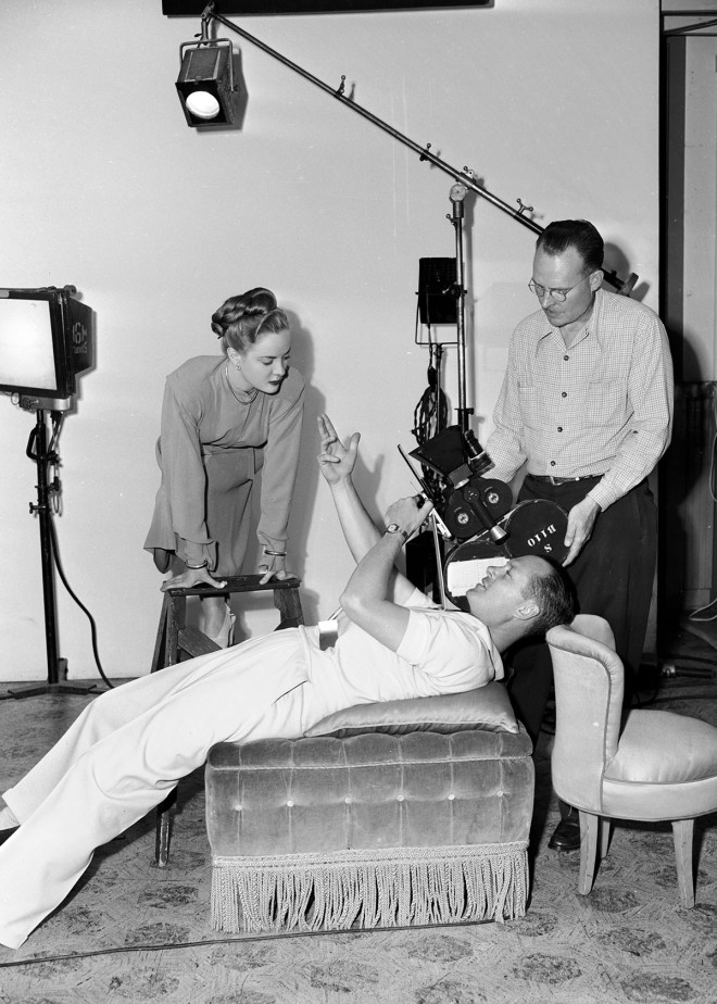 2_Robert Montgomery here with Audrey Totter on the set of LADY IN THE LAKE ('47).jpg