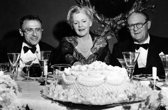 14_George Cukor, Lionel Barrymore and Ethel Barrymore at a dinner party in honor of her 70th birthday, 1949..jpg