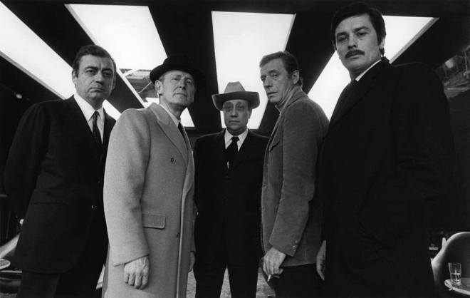 5_François Périer, Bourvil, Jean-Pierre Melville, Yves Montand and Alain Delon on the set of Le cercle rouge, 1970. Photo by André Perlstein.jpg