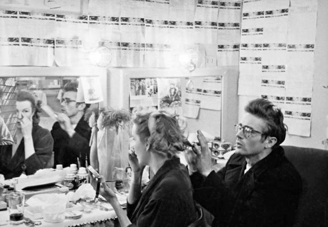 James Dean visiting his friend Geraldine Page in her dressing room at the Cort Theater in New York where she was appearing in The Rainmaker, December 1954.jpeg