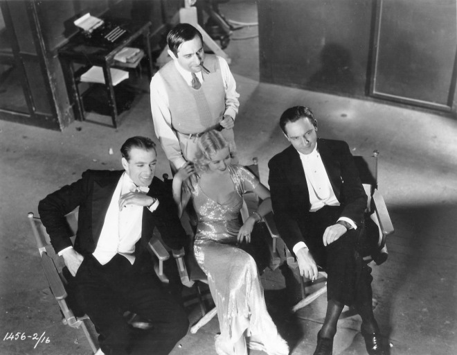 Ernst Lubitsch, Gary Cooper, Miriam Hopkins and Fredric March on the set of Design For Living (1932)-2