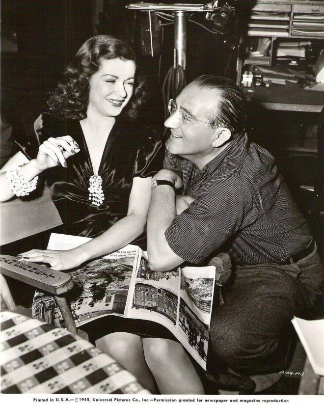 "15_Joan Bennett and director Fritz Lang on the set of ""Scarlet Street"" (1945)..jpg"