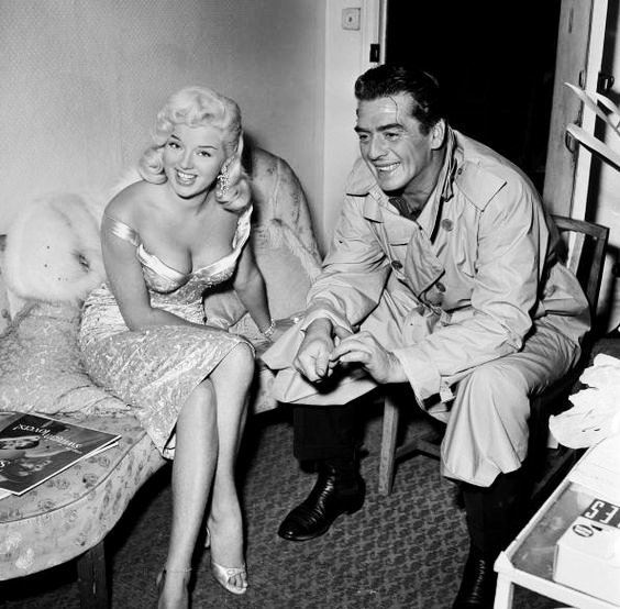 29_Diana Dors and Victor Mature at Shepperton Studios, London 1957 -1