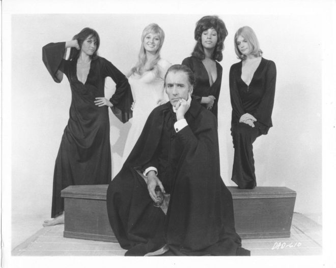 7_Caroline Munro, Stephanie Beacham, Christopher Lee, Marsha Hunt and Janet Key for Dracula A.D. 1972 Photoshoot-1