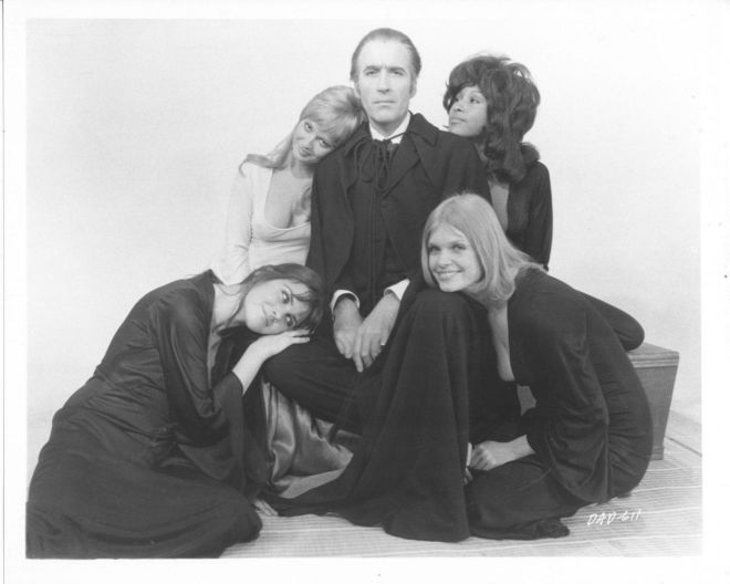 Caroline Munro, Stephanie Beacham, Christopher Lee, Marsha Hunt and Janet Key for Dracula A.D. 1972 Photoshoot-2