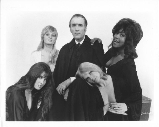 Caroline Munro, Stephanie Beacham, Christopher Lee, Marsha Hunt and Janet Key for Dracula A.D. 1972 Photoshoot-3