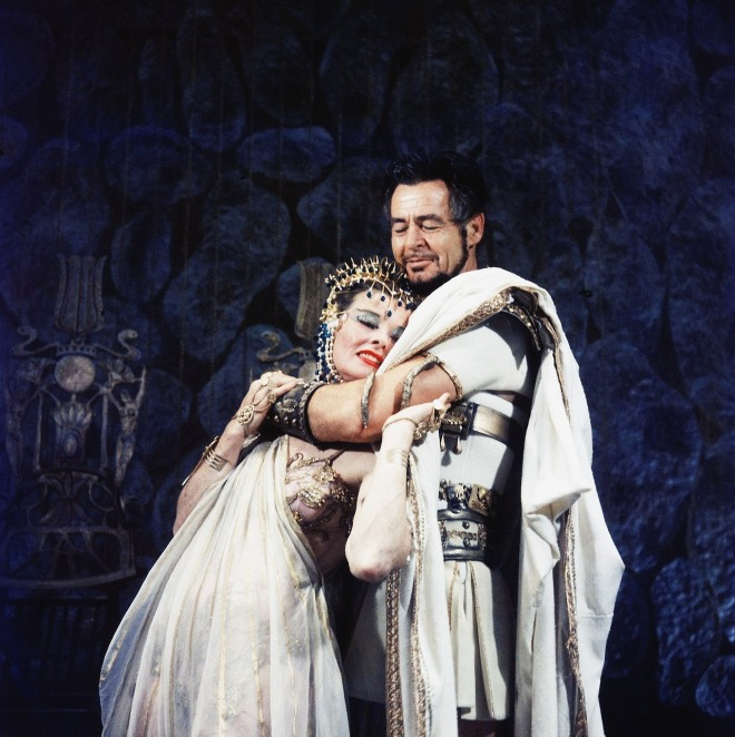 10_Katharine Hepburn and Robert Ryan in scene fr. play Antony and Cleopatra at American Shakespeare Festival, 1960