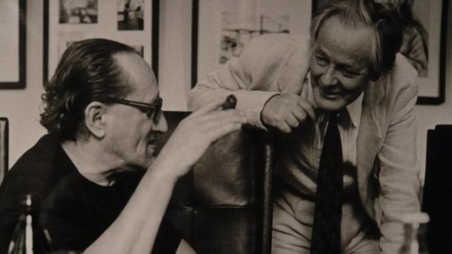 20_Hans Jürgen Syberberg. With Heiner Müller at the Akademie der Künste Ost in 1990.jpg