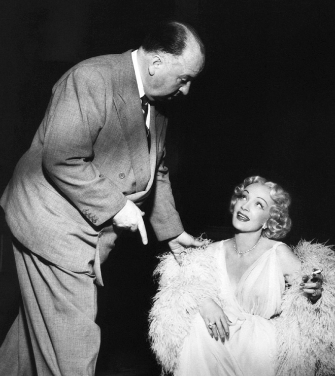 3_Alfred Hitchcock directs Marlene Dietrich on the set of Stage Fright..png