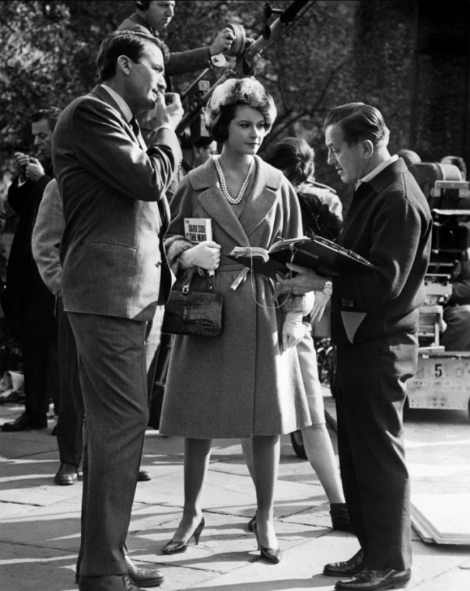 4_Diane Baker, Edward Dmytryk and Gregory Peck on the set of Mirage (1965).jpg