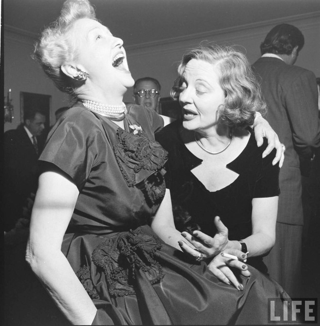 Hedda Hopper and Tallulah Bankhead drunkenly enjoy a party thrown for Bankhead, 1950 by Edward Clark. -2