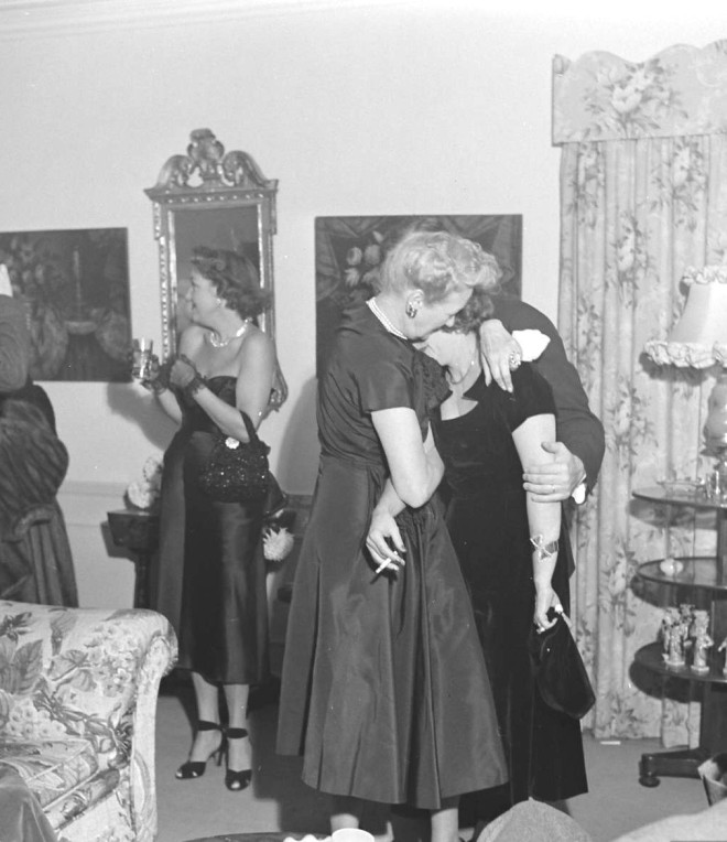 Hedda Hopper and Tallulah Bankhead drunkenly enjoy a party thrown for Bankhead, 1950 by Edward Clark. -5