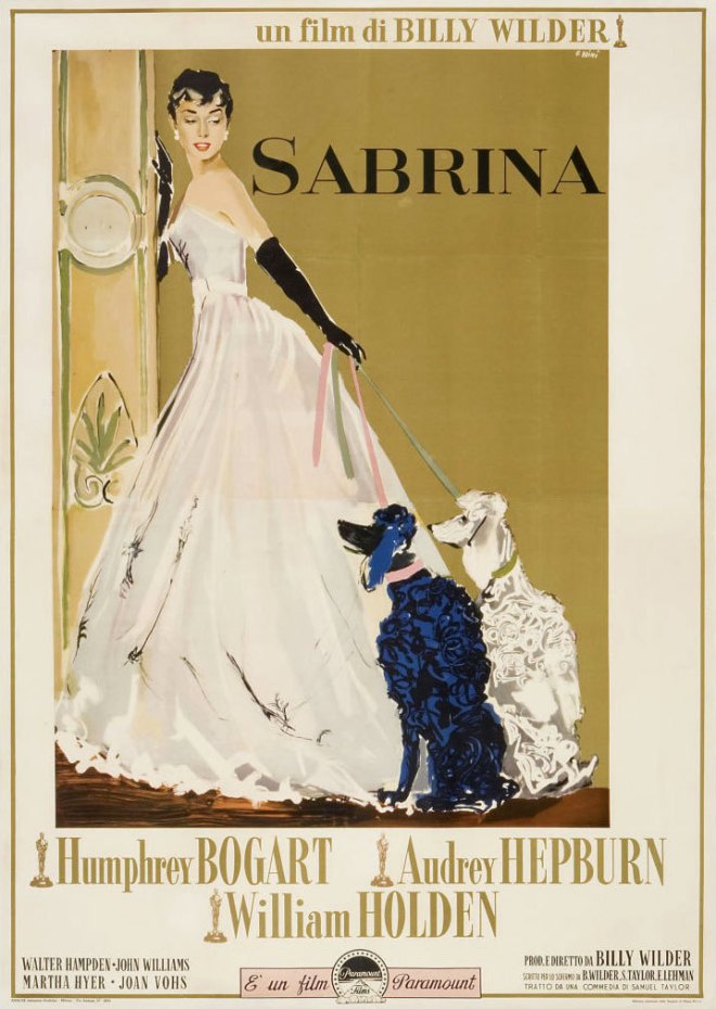 "Italian poster by Ercole Brini for the film ""Sabrina"", 1954, with Audrey Hepburn & Humphrey Bogart..jpg"