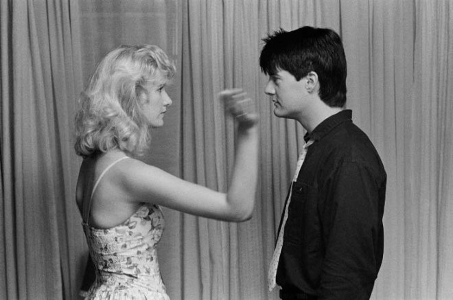 Laura Dern and Kyle MacLachlan on the set of Blue Velvet-1.jpg