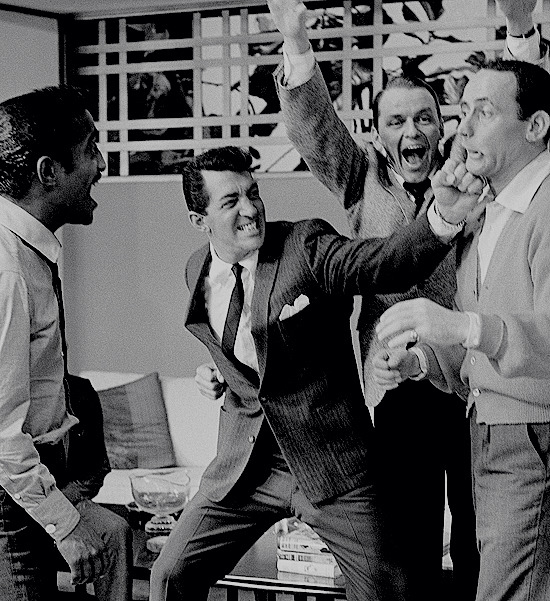 Sammy Davis Jr, Dean Martin, Frank Sinatra, and Joey Bishop  on the set of Ocean's 11 (1960)..jpg