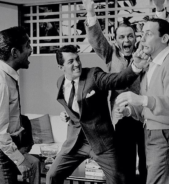 Sammy Davis Jr, Dean Martin, Frank Sinatra, and Joey Bishop  on the set of Ocean's 11 (1960)..jpg