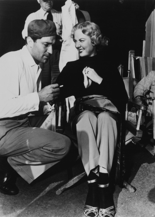 17_Audrey Totter and Director John Berry on the set of TENSION ('49).jpg