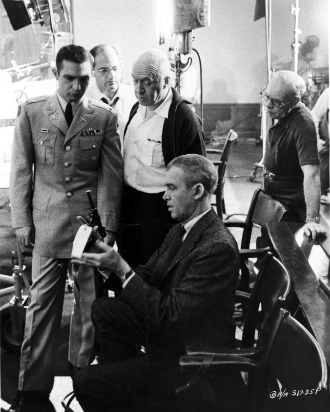27_Ben Gazzara, Director Otto Preminger and James Stewart on the set of Anatomy of a Murder..jpg