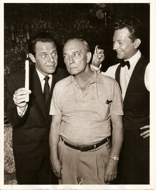 Donald O'Connor with Buster Keaton and Louis Hayward.jpg