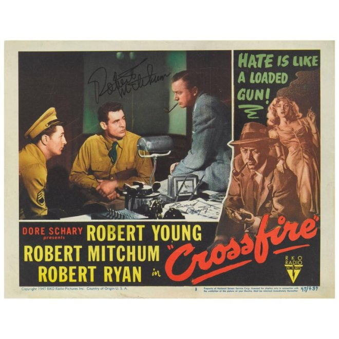 Original US lobby card for the 1947 film noir directed by Edward Dmytryk and starring Robert Young, Robert Mitchum..jpg