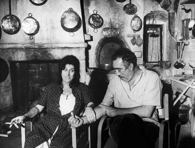 Anna Magnani & Anthony Quinn on the set of The Secret of Santa Vittoria, 1969-1